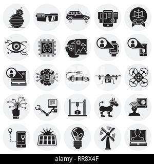 Future technologies icons set on circles background for graphic and web design, Modern simple vector sign. Internet concept. Trendy symbol for website design web button or mobile app. - Stock Photo