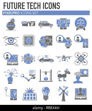 Future technologies icons set on white background for graphic and web design, Modern simple vector sign. Internet concept. Trendy symbol for website design web button or mobile app. - Stock Photo