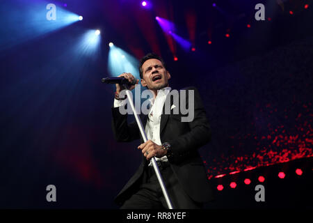 UNIONDALE, NY - FEB 23: Singer Marc Anthony performs in concert at NYCB Live on February 23, 2019 in Uniondale, New York. - Stock Photo