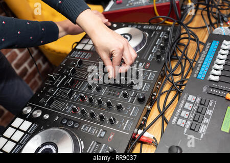 close-up equipment at the disco in the club - Stock Photo