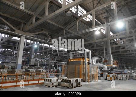 Long dusty corridors inside the ceramic factory