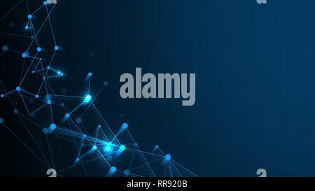 Abstract Technology Network Structure Background. Futuristic Plexus Effect or Molecules Structure with Polygonal Elements. Digital Computer Geometric - Stock Photo
