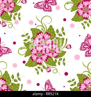 Seamless pattern with beautiful flowers and butterflies. Vector illustration - Stock Photo