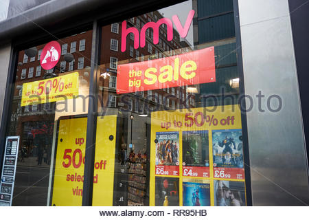The now closed HMV Store on Oxford Street in London - Stock Photo
