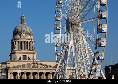 Nottingham Council House (city hall) Including Observation Wheel, Old Market Square, Nottingham, Nottinghamshire, England, UK, England UK