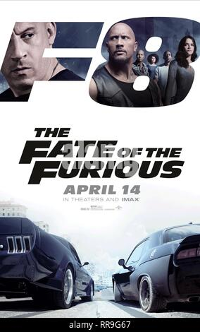 Vin Diesel, Dwayne 'The Rock' Johnson, Tyrese Gibson, Nathalie Emmanuel, Chris 'Ludacris' Bridges & Michelle Rodriguez Movie Poster Film: The Fate Of The Furious; Fast & Furious 8; Fast 8 (USA/CAN/FR/UK/JP/ASM 2017)   Director: F. Gary Gray 12 April 2017  SAS74307 Allstar Picture Library/UNIVERSAL PICTURES  **Warning**  This Photograph is for editorial use only and is the copyright of UNIVERSAL PICTURES  and/or the Photographer assigned by the Film or Production Company & can only be reproduced by publications in conjunction with the promotion of the above Film. A Mandatory Credit To UNIVERSAL - Stock Photo