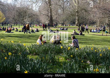 St James's Park, London, UK. 25th Feb, 2019. People enjoying the warm weather in St James's Park. The spell of warm weather is set to bring temperatures in the UK close to the record for February. Credit: Dinendra Haria/Alamy Live News - Stock Photo