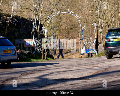 Wirksworth, Derbyshire, UK. 25th Feb, 2019. Local beauty spot under threat by Gypsy Roma Traveller camp after Councillors from Derbyshire Dales District Council apologised to the residents of Wirksworth for having to make the decision, commenting that they 'wouldn't wish it on anyone', Councillor Mike Ratcliffe called that decision a 'partisan political manoeuvre', Stoney Wood, Wirksworth, Derbyshire Dales. Land has been allocated as a 6 month temporary tolerated site. DDDC plan to cut down all the trees on the site to make room for the Travellers camp. Credit: Doug Blane/Alamy Live News - Stock Photo