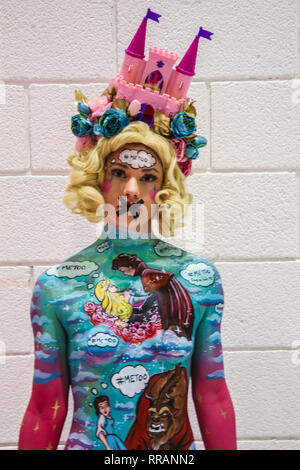 London, UK. 25th Feb, 2019. Models posing at todays War Paint body painting competition, the theme for this year is 90 yeras of Disney @Paul Quezada-Neiman/Alamy Live News Credit: Paul Quezada-Neiman/Alamy Live News - Stock Photo