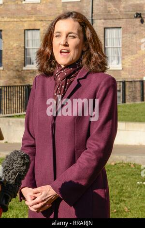 London, UK. 25th Feb, 2019. Theresa Villiers MP (Conservative) being interviewed on College Green.  Credit: Claire Doherty/Alamy Live News - Stock Photo