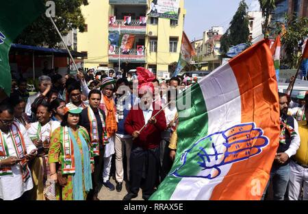 Guwahati, Assam, India. 25th Feb, 2019. Congress General Secretary Harish Rawat flagged off Prachar Yatra for publicity of Congress President Rahul Gandhi's Rally in Guwahati on Monday, 25 February 2019. Credit: Hafiz Ahmed/Alamy Live News - Stock Photo