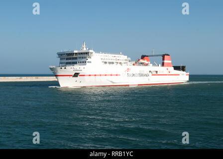 Ferry Zurbaran of the Trasmediterránea company entering the port of Barcelona. May 11, 2018. - Stock Photo