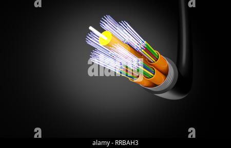 optic fiber cable 3d rendering image - Stock Photo