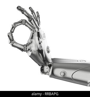 3d rendering robot hand gesture ok isolated on white - Stock Photo