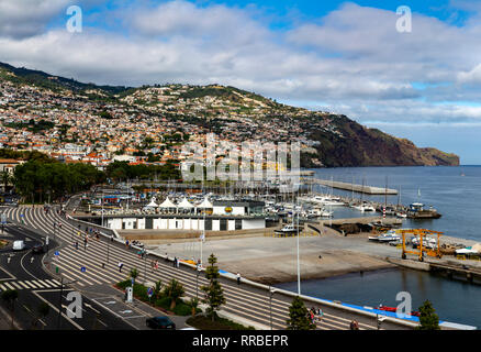Looking down on Funchal promenade and marina, Madeira, Portugal. - Stock Photo