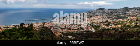 Panoramic view looking down on Funchal, Madeira, Portugal. - Stock Photo