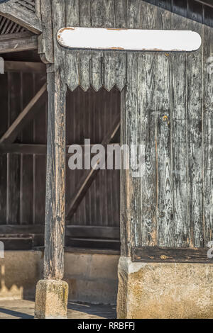 Detailed view of old train stop, small infrastructure, vintage wooden building... - Stock Photo