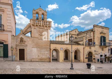The church Chiesa del Santo spirito  on Piazza Vittorio Veneto. Unesco site. Capital of European culture 2019. Matera, Basilicata, Puglia, Italy