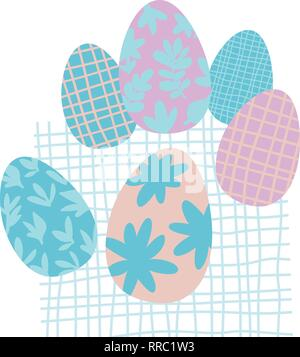 Colorful Easter Eggs Doodle Set Decorations. Spring Flowers. Bright Colors. Great for postcard, fabric, holiday ideas - Stock Photo