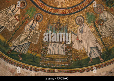 Italy. Ravenna. Arian Baptistery. Erected by Theodoric. 5th-6th centuries. Mosaic. Early Christians. Procession of the Apostles. - Stock Photo