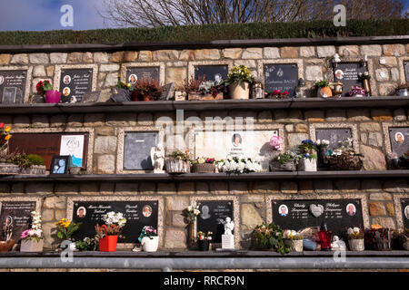 columbarium on the cemetery of Malmedy, Belgium, Europe.  Kolumbarium des Friedhofs von Malmedy, Belgien, Europa. - Stock Photo
