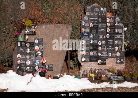 tombstones with many name plates on the cemetery in Malmedy, Belgium, Europe.  Grabsteine mit vielen Namensplaketten auf dem Friedhof von Malmedy, Bel - Stock Photo
