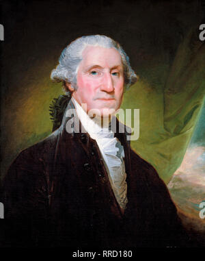 George Washington portrait by Gilbert Stuart, c. 1795, painting - Stock Photo
