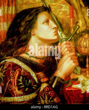 Joan of Arc kissing the Sword of Deliverance, Dante Gabriel Rossetti, 1863, portrait painting - Stock Photo