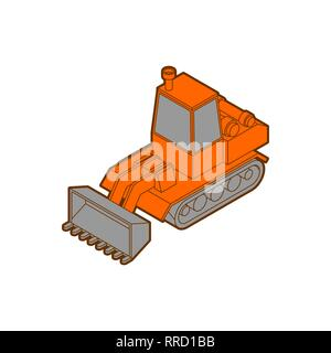 Tractor isometric style isolated. Agrimotor 3d model. bulldozer vector - Stock Photo