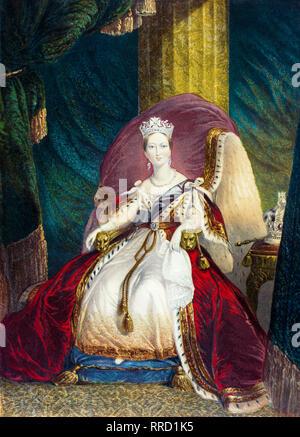 Queen Victoria, coronation portrait, George Baxter c. 1859 - Stock Photo