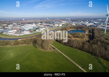 Oak road playing fields, river Hull, Kingston upon Hull - Stock Photo
