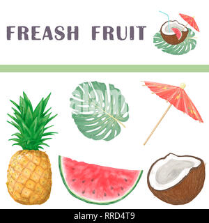 Watermelon, Pineapple, Coconut, fresh fruits tropical set for bar. Watercolor illustration on white background. - Stock Photo