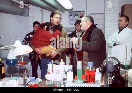 Unser Charly / Folge: Masse statt Klasse / In einem Rindermastbetrieb behandelt Dr. Henning einige Kälber, die an Lungenentzündung erkrankt sind. Er vermutet, daß der Betrieb mit illegalen Mastmitteln arbeitet. / Foto: Dr. Henning (RALF LINDERMANN, l.) und CHARLY entdecken das illegale Chemielabor, in dem die Kälbermastmittel hergestellt werden. Szene mit Kunzel (WOLFGANG HEPP) und HANS KLIMA. / V / , 01DFAcharly2 / Überschrift: UNSER CHARLY / D 1999 - Stock Photo