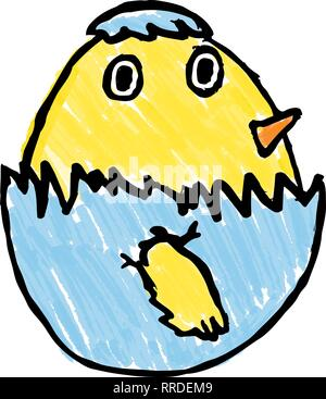 Cute Easter Chick Childs Drawing - Stock Photo