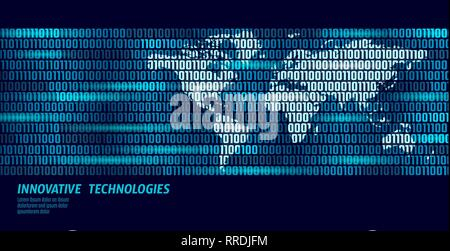 Planet Earth global data exchange binary code flow. Security payment personal information blue glowing business concept world map vector illustration - Stock Photo
