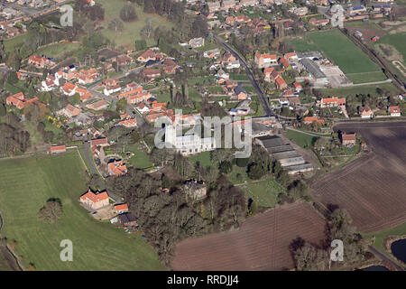 aerial view of East Markham (or Great Markham as it is sometimes known) near Tuxford, Nottinghamshire - Stock Photo