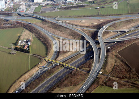 aerial view of M62 junction 32A interchange where it meets the A1M motorway, Ferrybridge, West Yorkshire - Stock Photo