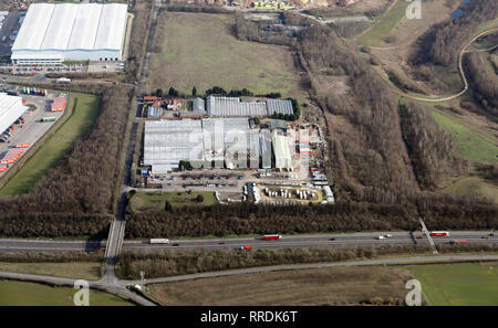 aerial view of Markham Grange Garden Centre near the A1M at Doncaster, South Yorkshire - Stock Photo