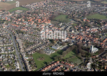 aerial view of the town of Tickhill near Doncaster, South Yorkshire - Stock Photo
