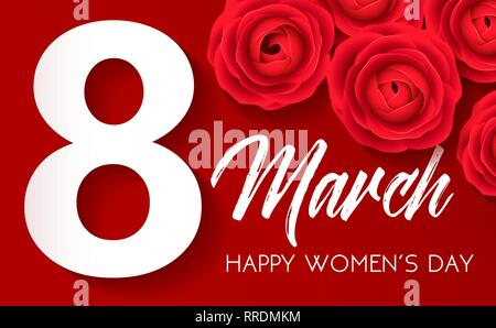Happy Womens Day - March 8, congratulatory banner with red roses on red background. White 8 on red. Vector illustration. - Stock Photo