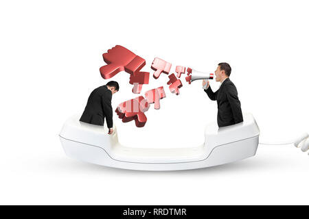 Boss using megaphone yelling at the tired employee with spraying out 3D thumbs down objects, in the telephone handset, isolated on white. - Stock Photo