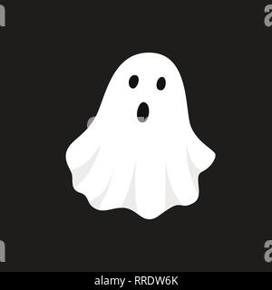 Vector illustration of white ghost. Halloween spooky monster, scary spirit or poltergeist flying in night. - Stock Photo
