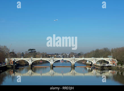 richmond lock footbridge reflected in the river thames at richmond, surrey, england, seen from twickenham bridge - Stock Photo