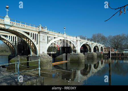 richmond lock footbridge reflected in the river thames at richmond, surrey, england - Stock Photo