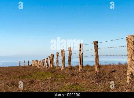 Barbed Wire fence running thru a field - Stock Photo