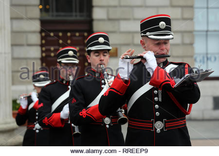 Musicians playing during a commemoration ceremony at the GPO to mark the anniversary of the 1916 Easter Rising - Stock Photo