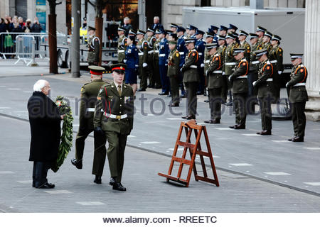 Michael D Higgins, President of Ireland, prepares to lay a wreath in front of the GPO, in Dublin, at a commemoration ceremony, for the 1916 rising. - Stock Photo