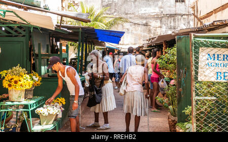 Havana, Cuba - 25 July 2018: People shopping at a food market in central Havana Cuba. - Stock Photo