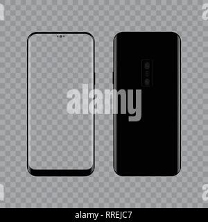 Realistic modern smart phone Front and Back view. Vector. Transparent screen - Stock Photo