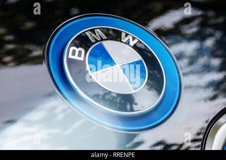 Strasbourg, France - Oct 1, 2017: BMW logotype on electric car Bayerische Motoren Werke AG i1 - Stock Photo